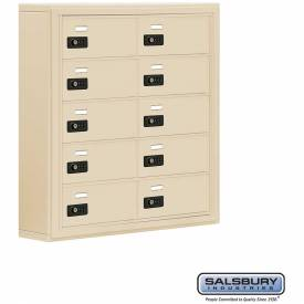 "Cell Phone Storage Locker, Surface Mounted, 5 Door High, 5""D, Combo Locks, 10 B Doors, Sandstone"