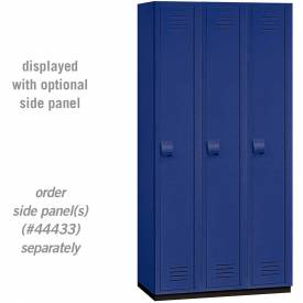 "Salsbury Heavy Duty Plastic Locker, Single Tier, 3 Wide, 12""W x 18""D x 72""H, Blue"