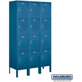 "Salsbury Metal Locker 64352 - Four Tier 3 Wide 12""W x 12""D x 15""H Blue Assembled"