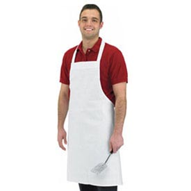 "Economy Bib Apron, 34"" X 36"", No Pocket, White - Pkg Qty 12"