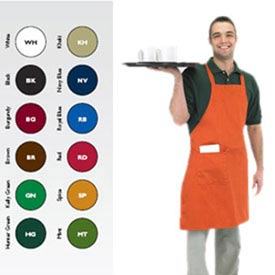 "Full Length Bib Apron, 30"" X 34"", 8"" X 8"" Side Pocket, Burgundy"
