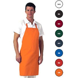 Bib Apron, 30x34, No Pocket, Twill, Royal Blue Package Count 12 by