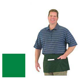 "Front Of The House Waist Apron, 12"" X 24"", Blended Twill Fabric, 3 Compartment Pocket, Kelly Green"