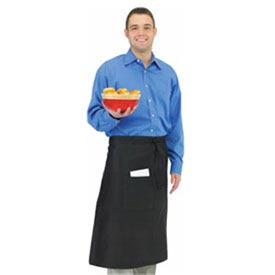 Bistro Apron, 28X34, Side Pocket, Extra Long Self Ties, Black by