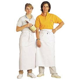 Bistro Apron, 28X34, W/2 Middle Pockets, White