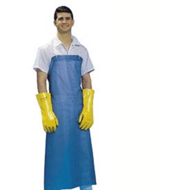Dishwashing Apron, 36X45, No Pockets, Hd Braided Ties, Blue