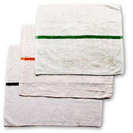 Striped Bar Towel, 16X19, White W/Green Stripe Pack of 12 by