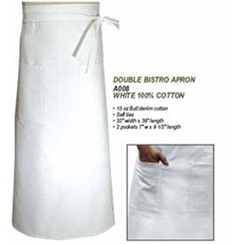 Chef Bistro Apron, 32X38, Waist, Double, White