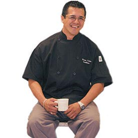 Traditional Chef'S Jacket Qc Lite™, Large, Short Sleeve, Black