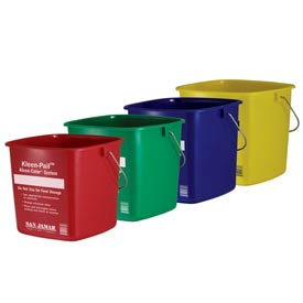 San Jamar 6 Quart Green Kleen-Pail Package Count 12 by