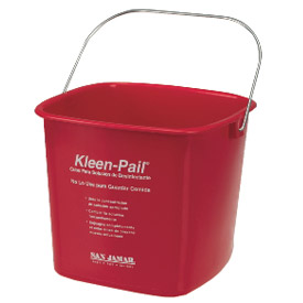 San Jamar 6 Quart Red Kleen-Pail Package Count 12 by