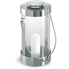 Blomus 65023 Lantern w/ Candle, Stainless Steel, Indoor/Outdoor by