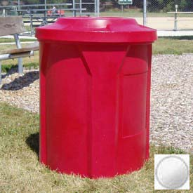 42 Gal. Round Receptacle, Bug Barrier Lid, Liner - White