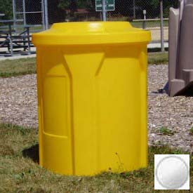 """42 Gal. Round Receptacle, 4"""" Recycle Lid, Liner - White"""