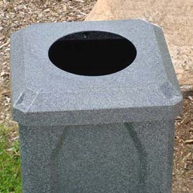 "32 Gal. Square Receptacle 10"" Recycle Lid, Liner - Black Granite"