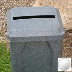 """32 Gal. Square Receptacle, 2"""" x 15"""" Paper Slot Lid, Liner - White"""