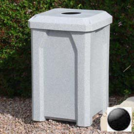 "32 Gal. Square Receptacle 4"" Recycle Lid, Liner - Black"