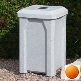 "32 Gal. Square Receptacle 4"" Recycle Lid, Liner - Orange"