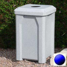 "32 Gal. Square Receptacle 4"" Recycle Lid, Liner - Blue"