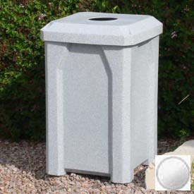 "32 Gal. Square Receptacle 4"" Recycle Lid, Liner - White"