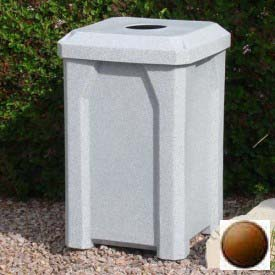 "32 Gal. Square Receptacle 4"" Recycle Lid, Liner - Brown"
