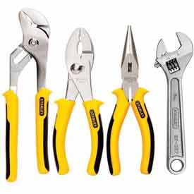 Stanley 84-558 4 PC. Plier & Adjustable Wrench Set by
