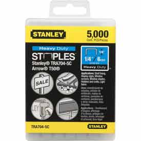 """Stanley TRA704-5C Heavy-Duty Narrow Crown Staples 1/4"""", 5000 Pack"""