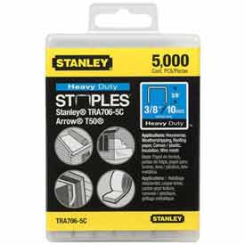 """Stanley TRA706-5C Heavy-Duty Narrow Crown Staples 3/8"""", 5000 Pack"""