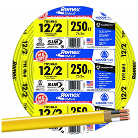 Southwire 28828255 Romex Cable with Ground, Yellow, 12/2 Awg, 250 ft