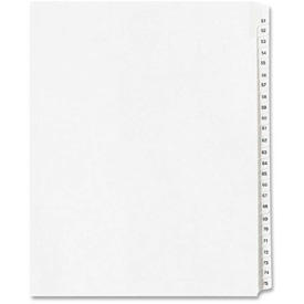 """Avery Side Tab Collated Legal Index Divider, 51 to 75, 8.5""""x11"""", 25 Tabs, White/White by"""
