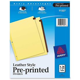 "Avery Leather Daily Tab Index Divider, Printed 1 to 31, 8.5""x11"", 31 Tabs, Buff/Red by"
