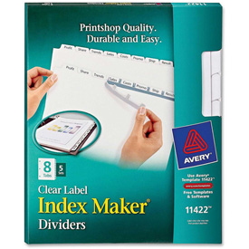 "Buy Avery Index Maker Copier Clear Label Divider, Blank, 8.5""x11"", 8 Tabs, 5 Sets, White/Clear"
