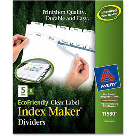 "Avery Eco-friendly Index Divider, Print-on, 8.5""x11"", 5 Tabs, 5 Sets, White/White by"
