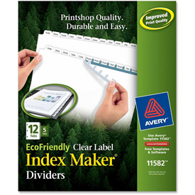 "Avery Eco-friendly Index Divider, Print-on, 8.5""x11"", 12 Tabs, 5 Sets, White/White by"