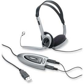 Compucessory Multimedia Stereo Headset, 55257, W/USB Adapter, 6.23' Cord, Black/Silver