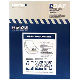 "Chartpak® Applique Drafting Film, DAF8, Permanent, 11""L X 8-1/2""W, 100/Box"