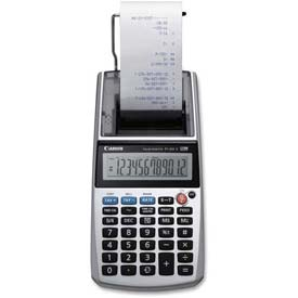 """Canon 12-Digit Printing Calculator, P1DHV, W/Time, Portable, 3-4/5"""" X 8"""" X 2"""", Grey by"""