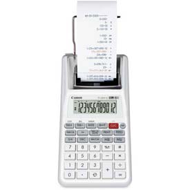 """Canon 12-Digit Palm Calculator, P1DHVG, 2 Color Printing, 4"""" X 8"""" X 2"""", White by"""