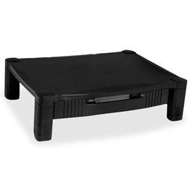 Kantek Monitor Stand, MS420, W/Removable Drawer, Adjust. Height, Black