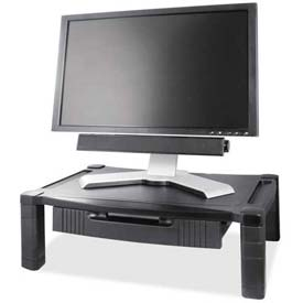"Kantek Monitor Stand Deluxe, MS520, Wide W/Drawer, 20"" X 13-1/4"", Adjust, Black"