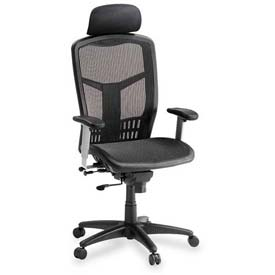 "Lorell® High Back Mesh Chair, 28-1/2""W x 28-1/2""D x 51""H, Black"