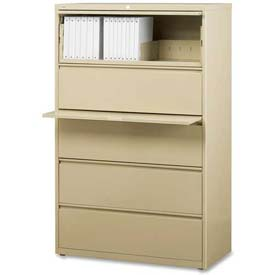 "Lorell® 5-Drawer Lateral File Cabinet, 42""W x 18-5/8""D x 68""H, Putty"