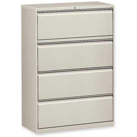 "Lorell® 4-Drawer Lateral File Cabinet, 42""W x 18-5/8""D x 52-1/2""H, Gray"
