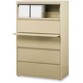 "Lorell® 5-Drawer Lateral File Cabinet, 36""W x 18-5/8""D x 68""H, Putty"