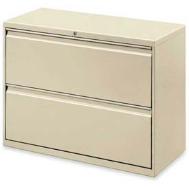 "Lorell® 2-Drawer Lateral File Cabinet, 36""W x 18-5/8""D x 28""H, Putty"