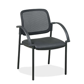 "Lorell® Mesh Guest Chair, 24""W x 23-1/2""D x 32-3/4""H, Black Leather Seat"