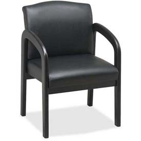 "Lorell® Deluxe Faux Leather Guest Chair, 23""W x 25-1/2""D x 33-1/2""H, Black/Espresso"