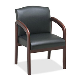 "Lorell® Deluxe Faux Leather Guest Chair, 23""W x 25-1/2""D x 33-1/2""H, Black/Cherry"