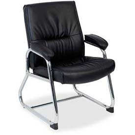 "Lorell® Bridgemill Leather Guest Chair, 24-1/4""W x 27""D x 35-3/4""H, Black"