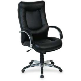 "Lorell® Stonebridge Executive Leather High-Back Chair, 26-1/2""W x 28-1/2""D x 48""H, Black"